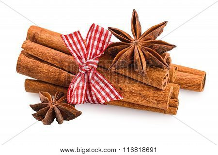 Cinnamon stick anise star isolated on white