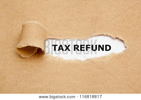 Tax Refund Torn Paper Concept