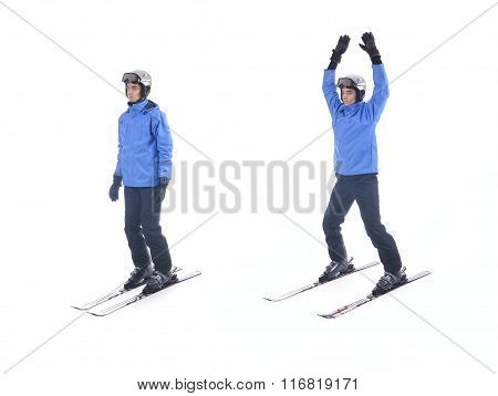 Skiier Demonstrate Warm Up Exercise For Skiing. Jumping Jacks With Skis.