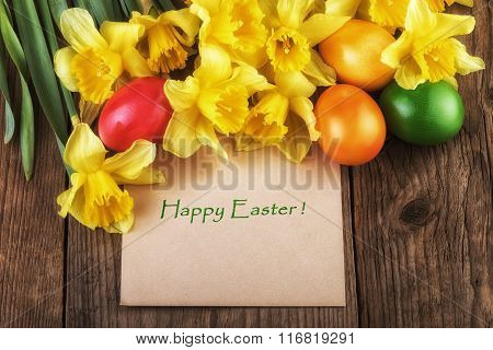 Easter card Happy Easter with yellow flowers sunlight effect