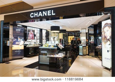 HONG KONG - JANUARY 26, 2016: Chanel cosmetics store at Elements Shopping Mall. Elements is a large shopping mall located on 1 Austin Road West, Tsim Sha Tsui, Kowloon, Hong Kong