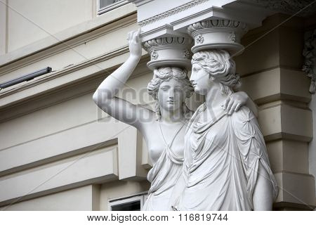 VIENNA, AUSTRIA - DECEMBER 09: Karyatide - Palais Pallavicini, on December 09, 2011 in Vienna, Austria