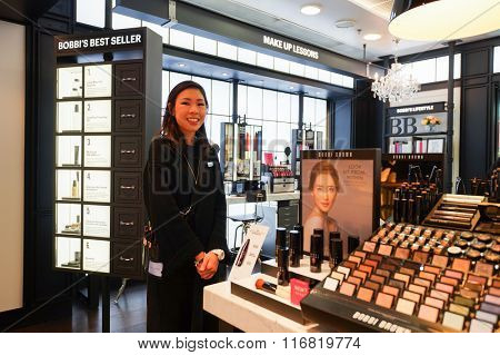 HONG KONG - JANUARY 26, 2016: Bobbi Brown cosmetics store at Elements Shopping Mall. Elements is a large shopping mall located on 1 Austin Road West, Tsim Sha Tsui, Kowloon, Hong Kong