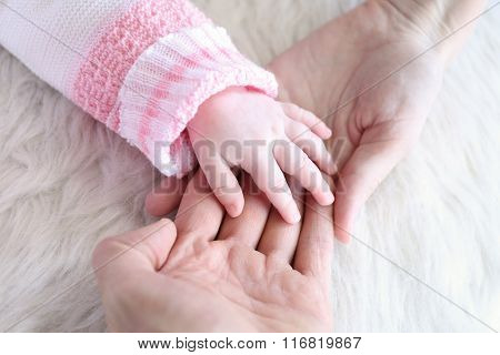 Baby Hand Into Parents Hands, Close Up