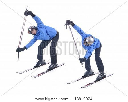 Skiier Demonstrate Warm Up Exercise For Skiing. Bend Forward And Rotate With Sticks.