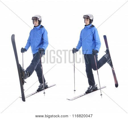 Skiier Demonstrate Warm Up Exercise For Skiing. Pull Up Skis Forward-backward.