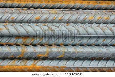 Metal rods for construction, close-up