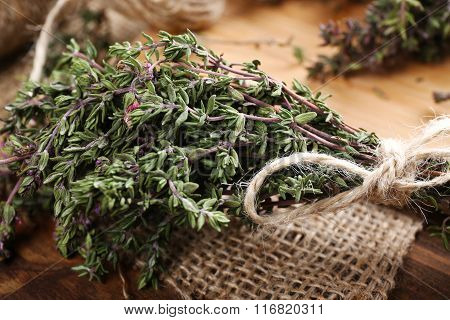 Bunch Of Organic Thyme Close Up