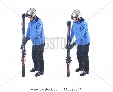 Skiier Demonstrate How To Connect Skis. Prepare For Carrying.