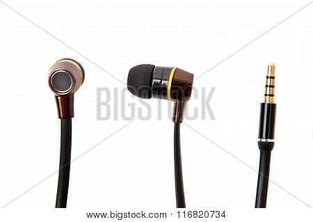 Black Wired Earphones Isolated Over White