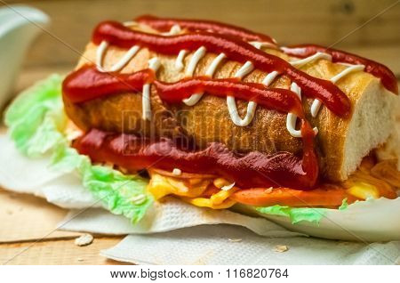Sandwich With Ketchup And Greens