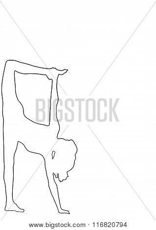 Silhouette Of A Young Woman On The White Background , Practicing Yoga. Logo.