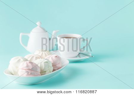 Sweet Homemade Dessert - Berry Marshmallow (zephyr) On A Plain Aquamarine Background