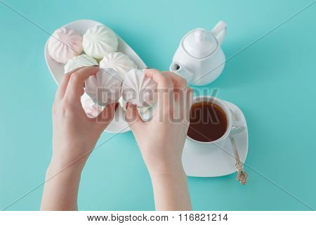 Women Burst Colored Marshmallow For Breakfast