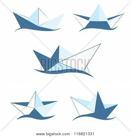 Paper boat of different shades