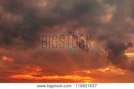 Fiery Sunset In The Storm Clouds