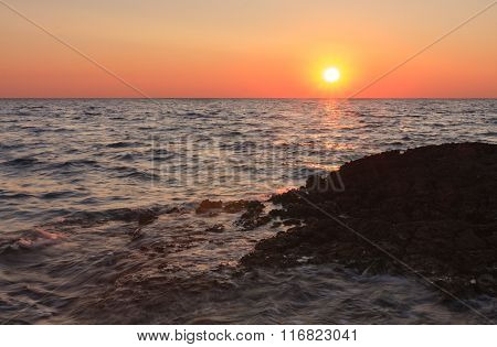 Sunset Over The Sea During Summer Evening In Croatia