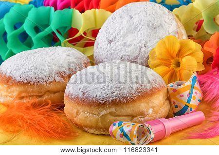 Berliner Doughnut Donut or Krapfen on Festive Decoration