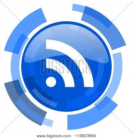 rss blue glossy circle modern web icon