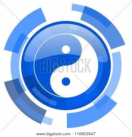 ying yang blue glossy circle modern web icon