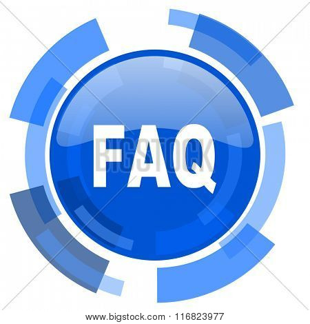 faq blue glossy circle modern web icon