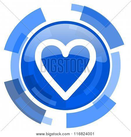 heart blue glossy circle modern web icon