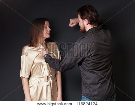 Family Fight. Husband Threaten Wife, He Is Going To Fist Her