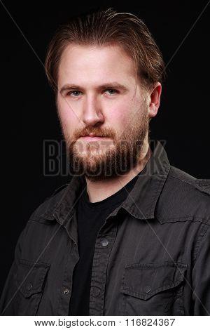 Portrait Os A Smiling Man, Black Background
