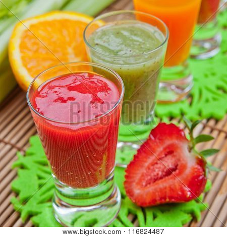 Colorful Smoothies. Selective Focus