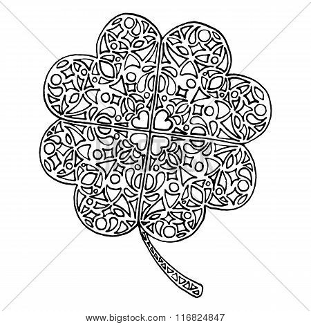 Doodle Zentangle Clover Shamrock Saint Patrick's Day Vector Isolated