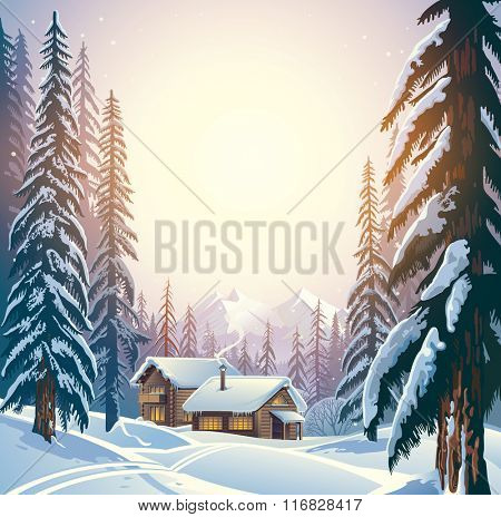 Winter forest landscape and the houses. Forest shelter for tourists.