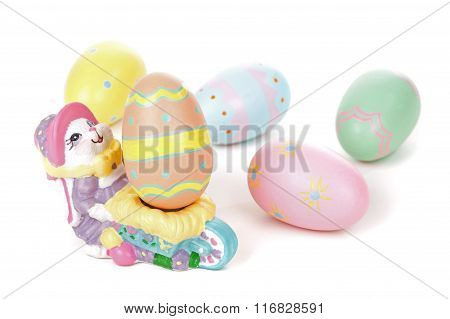 Colorful Eggs With Easter Bunny Figurine