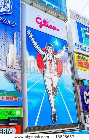 Osaka, Japan - November 30, 2015: Glico billboard is an icon of Dotonbori,  Dotonbori is one of Osaka's primary tourist destinations.