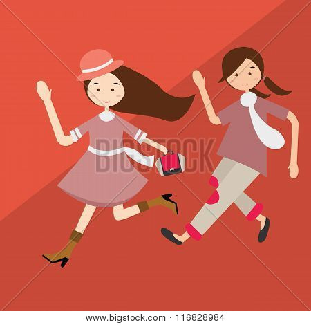 kids girls running have fun cartoon beautiful illustration purple clothes vector