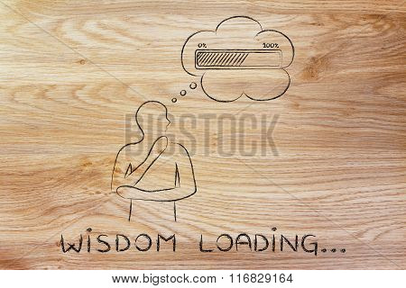 Person With Thought Bubble &  Progress Bar, With Text Wisdom Loading