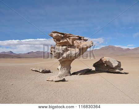 A tree-like rock standing in the middle of a barren desert
