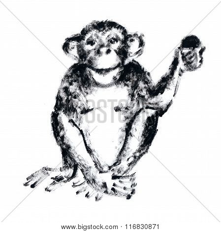 Chimp With A Fruit