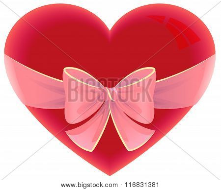 Heart tied ribbon. Heart shape gift for valentines day