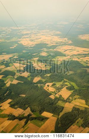 View From Airplane Flying Over Poland.