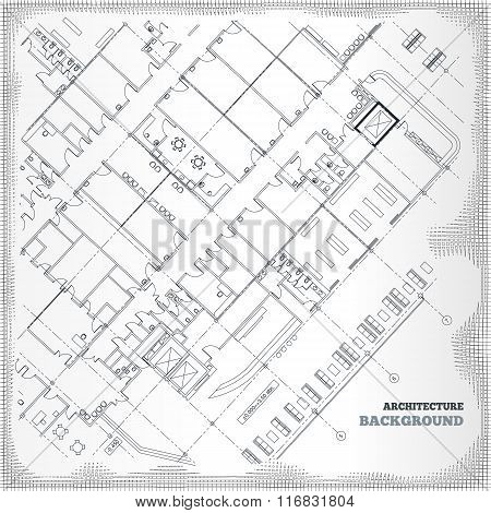 Architectural pattern. Gray building plan silhouette on white-gray vintage background. Vector illust