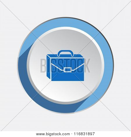 Baggage icon. Luggage for traveling. Transportation info symbol. Brief-case. Blue sign on white-blue