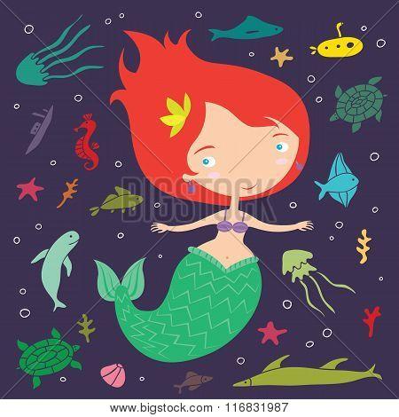Little Cute Cartoon Mermaid Illustration