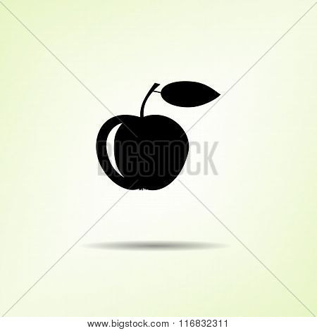 Food icon. Apple fruit. One black silhouette with shadow on light green background. Flat design. Vec