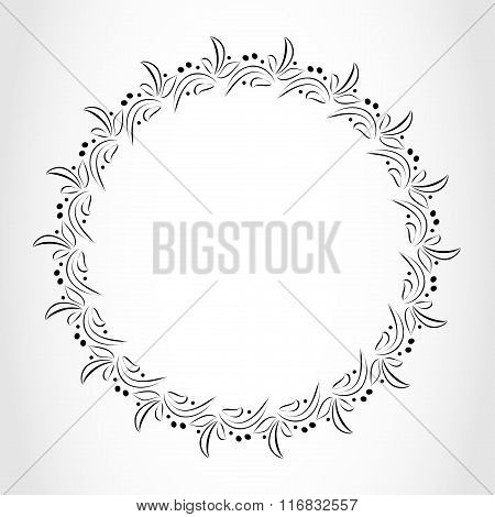 Laurel wreath cicle tattoo. Black stylized ornament, leaves with berry sign on white background. Vic