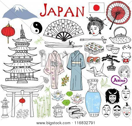 Japan Doodles Elements. Hand Drawn Sketch Set With Fujiyama Mountain, Shinto Gate, Japanese Food Sus