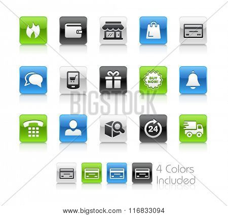 e-Shopping Icons / The file Includes 4 color versions in different layers.