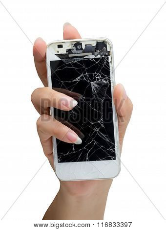 Woman Hand Holding Mobile Smartphone With Broken Screen