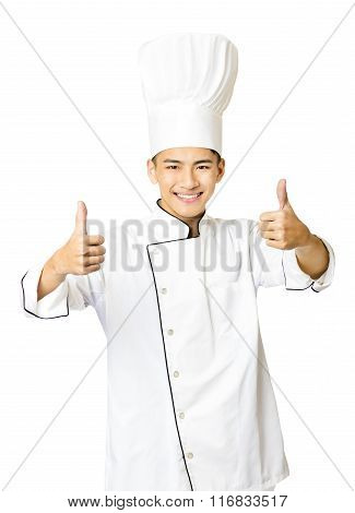 Young  Male Chef With Thumb Up Isolated On White