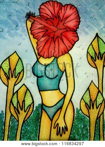 Surreal illustration of woman with flower face