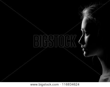 Profile Of Sad Woman